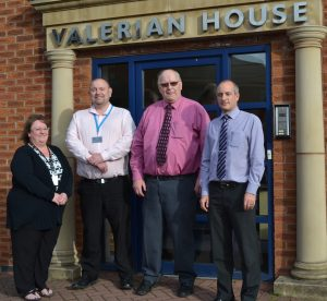 The GRG Public Resources Directors: Patsy Tomlinson, John Marks, David Marks and Bruce Ridley outside their office at Valerian House on the Staffordshire Technology Park.